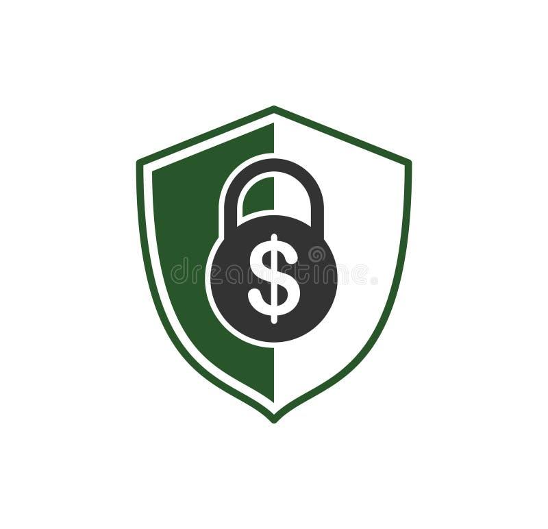 在背景的金钱与安全相关的象图表和网络设计的 E E 向量例证