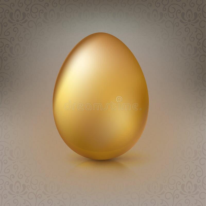 在背景的金黄鸡蛋与花卉样式 库存例证