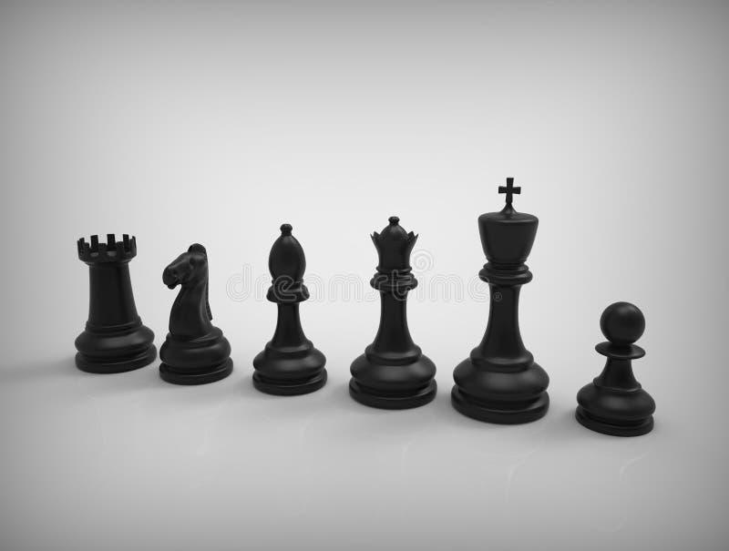 在背景的黑棋子 库存例证