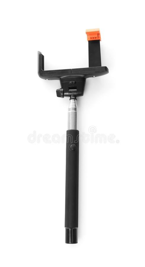 在背景的Selfie棍子 库存图片
