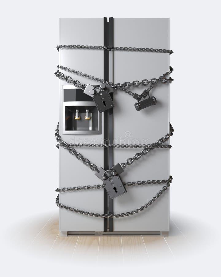 在背景空白弓概念节食的显示评定编号附近自己的缩放比例磁带文本附加的空白视窗包裹了您 冰箱、链子和锁 皇族释放例证