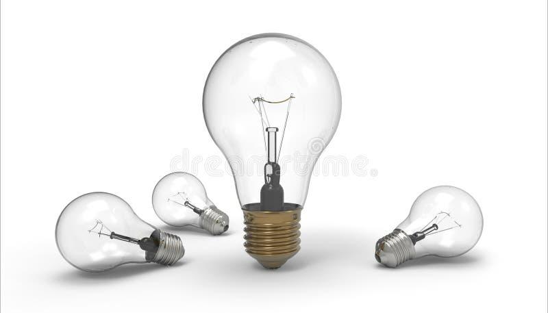 在背景编组创造性隔绝的简单的电灯泡 库存例证