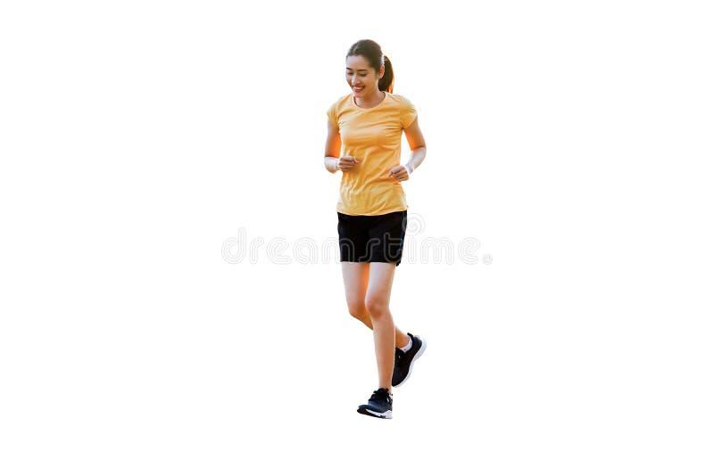 在背景跑步,跑隔绝的美丽的微笑的泰国妇女 库存例证