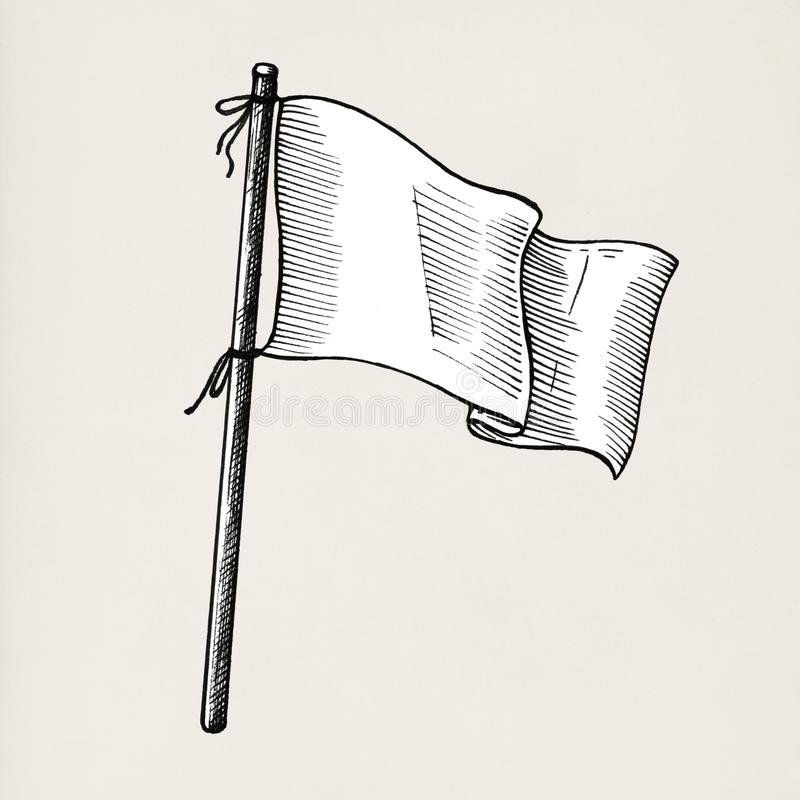 在背景隔绝的手拉的白旗 向量例证