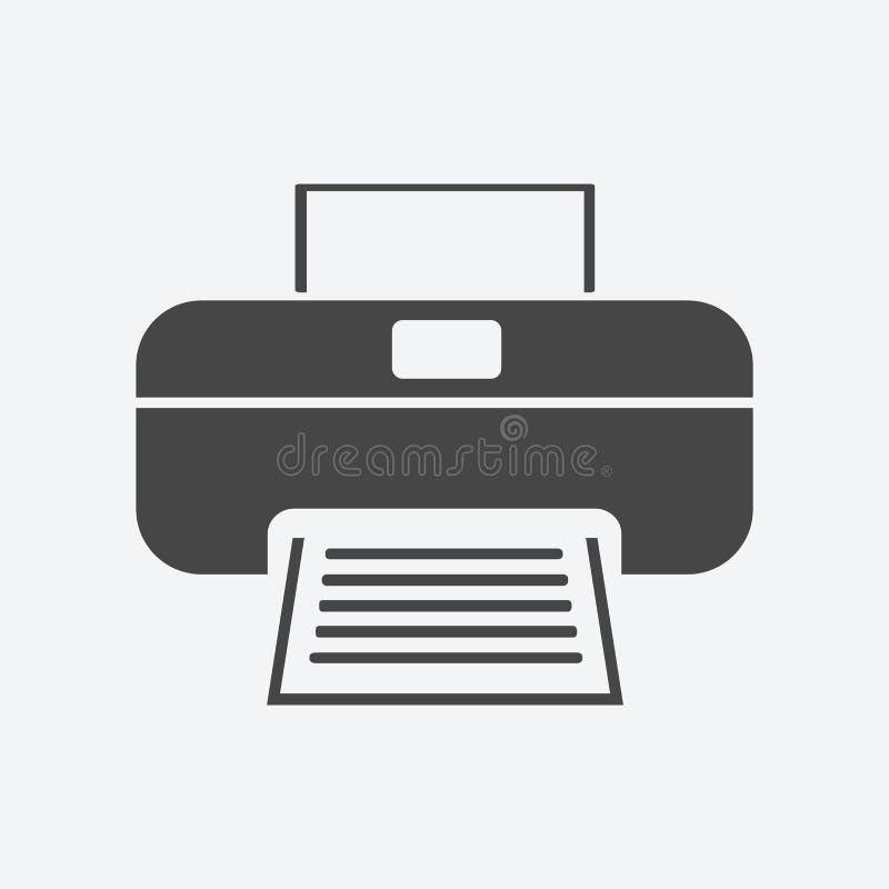 在背景隔绝的打印机图标平的样式 打印机标志sym 向量例证