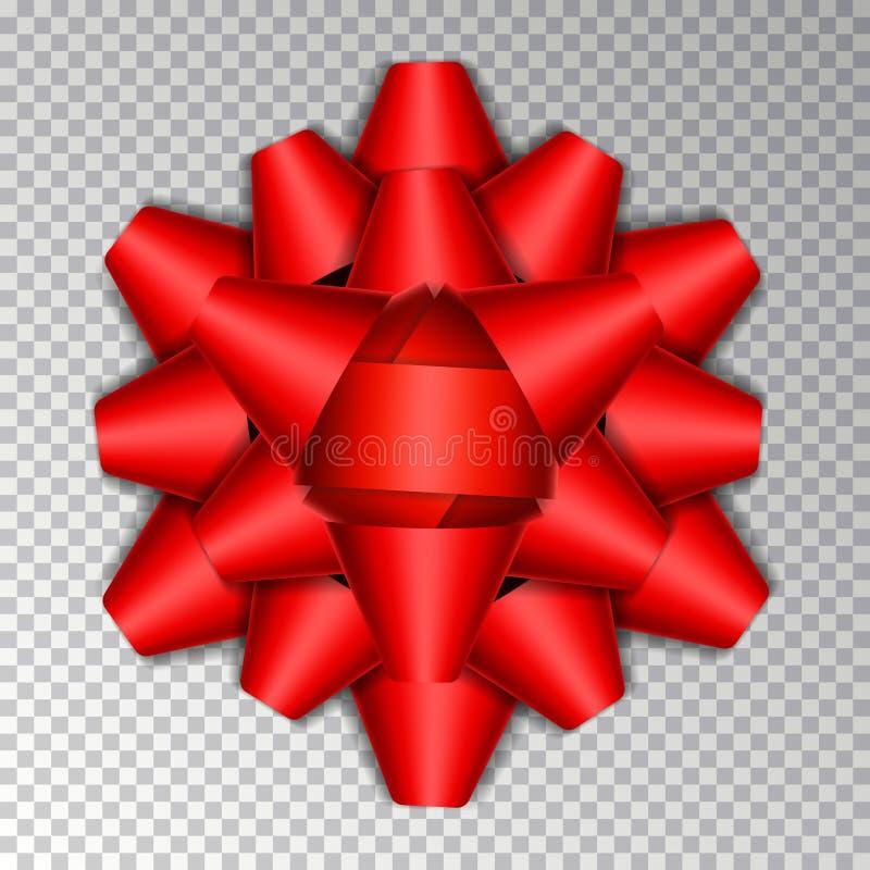 在背景隔绝的红色丝带弓 传染媒介礼物盒装饰的弓丝带 圣诞节g顶视图  皇族释放例证