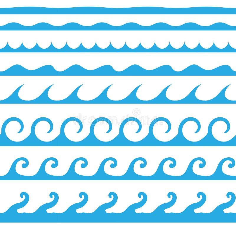 在背景隔绝的蓝色无缝的波浪象收藏 现代简单的平的标志 海,浓缩的海洋 皇族释放例证