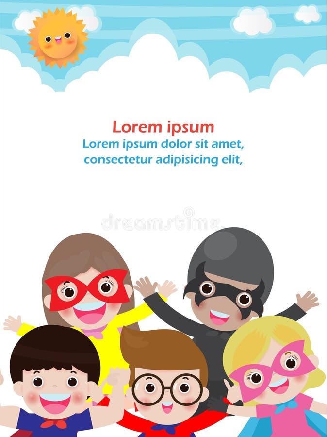 在背景,宣传手册的,海报模板的超级英雄孩子您的文本,传染媒介例证 皇族释放例证