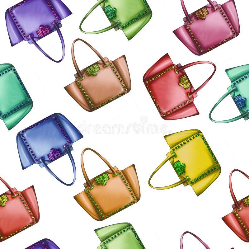 在背景-水彩时装设计师袋子 免版税库存图片