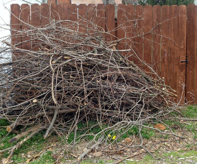 在胡同的被堆积的树枝 免版税库存照片