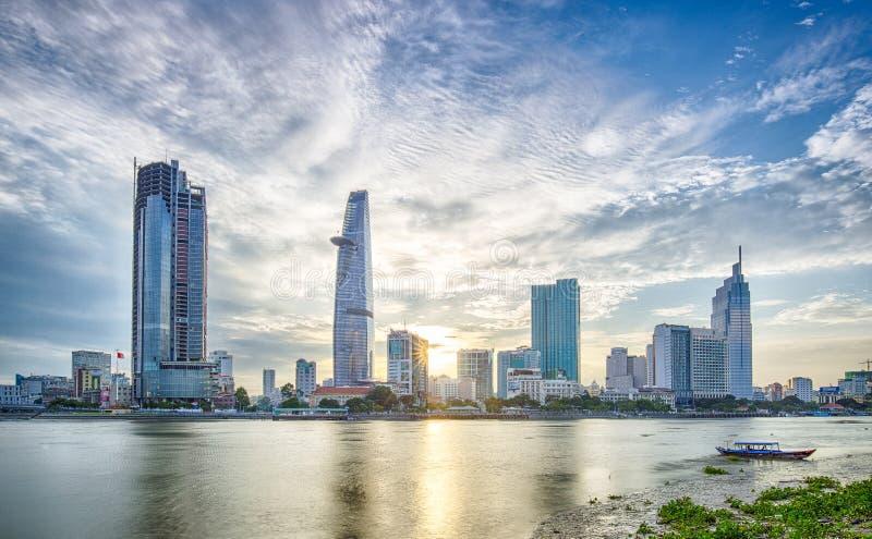 在胡志明市的日落 免版税库存图片