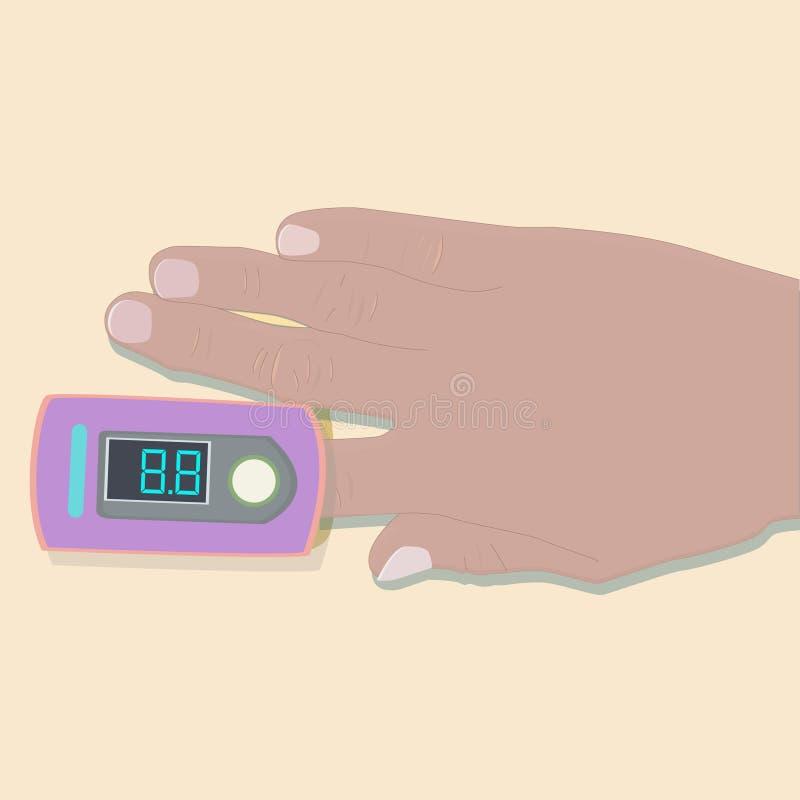 在胳膊的医疗脉冲血氧定量计 库存例证