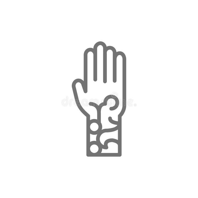 在胳膊,马哈迪线象的无刺指甲花纹身花刺 向量例证