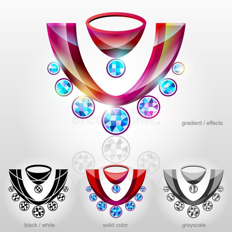 在胸象形状的标志与钻石项链的 皇族释放例证