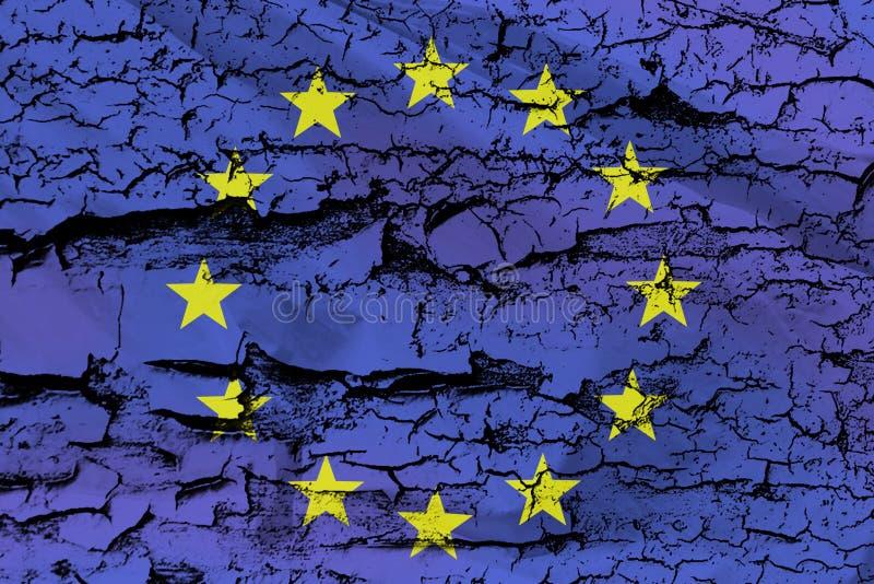 在脏的纹理的欧盟旗子 库存照片