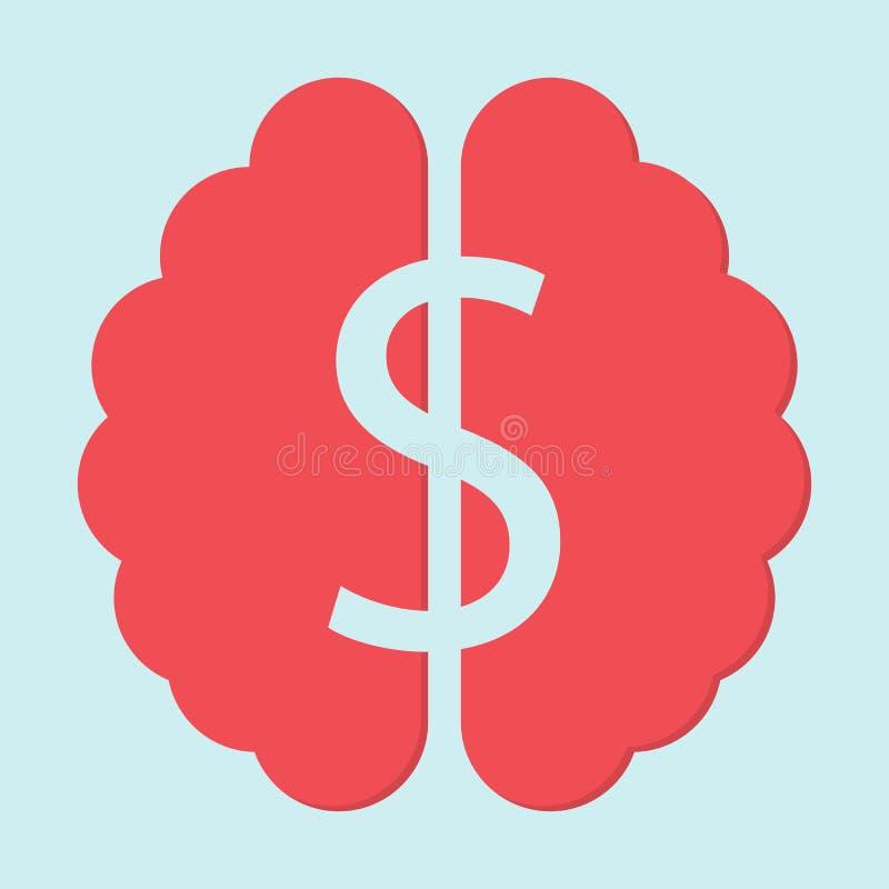 在脑子平的设计的美元标志 库存例证