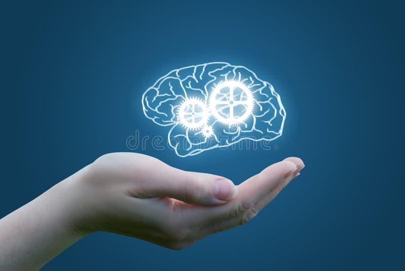 在脑子的手上与心理控制机制的  免版税库存图片