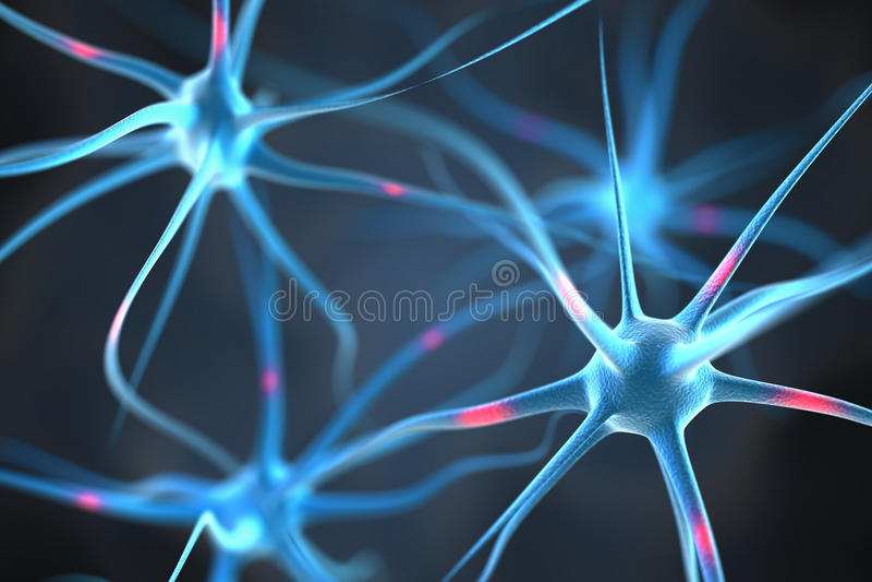 在脑子的神经元 皇族释放例证