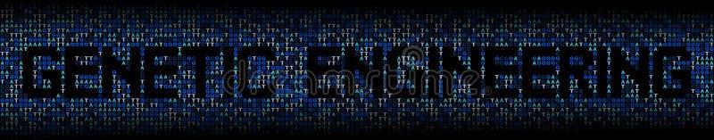 在脱氧核糖核酸基因代码背景例证的遗传工程文本 向量例证