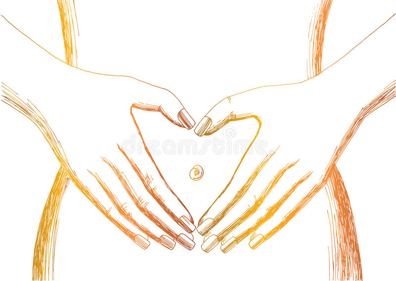 在腹部白色背景的心脏标志 库存例证