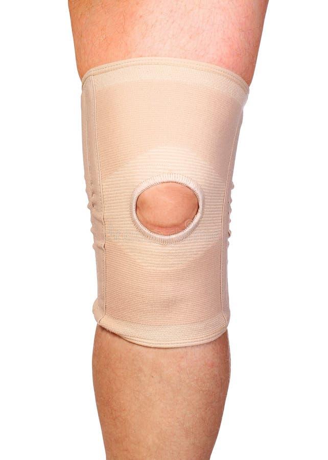 在腿的解剖膝盖关节整直法 有弹性压缩绷带 免版税库存照片