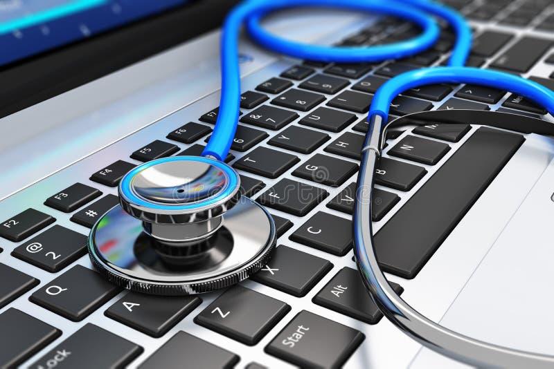 在膝上型计算机关键董事会的听诊器 库存例证