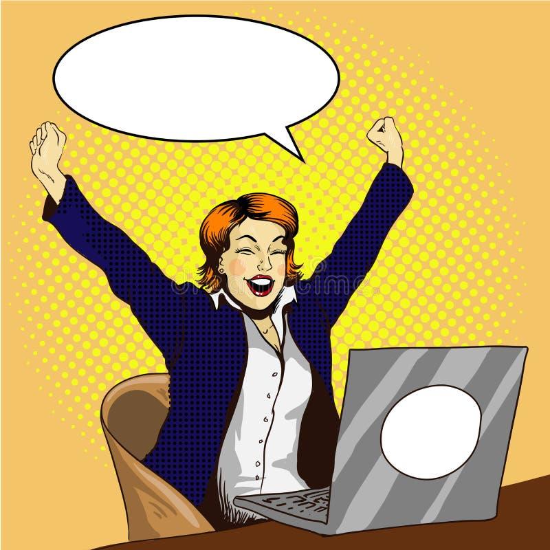 在膝上型计算机减速火箭的可笑的流行艺术传染媒介例证的妇女工作 女实业家在办公室 工作是完成的概念 向量例证