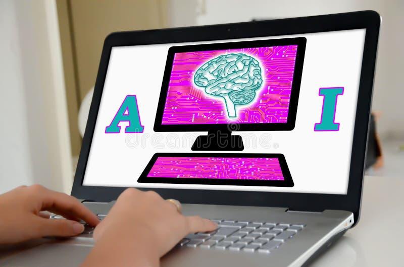 在膝上型计算机屏幕上的人工智能概念 免版税库存照片