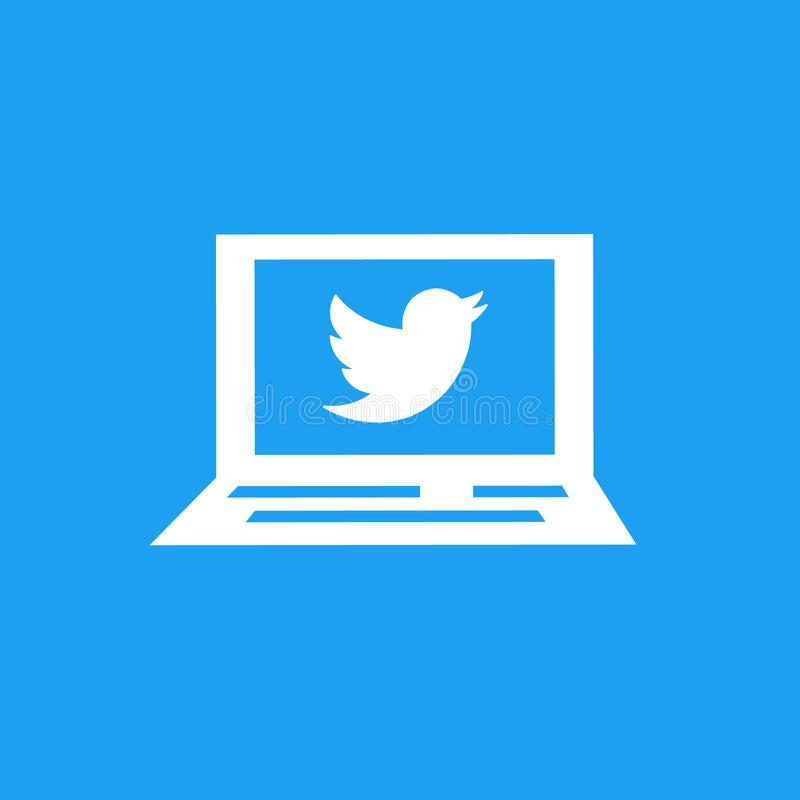在膝上型计算机屏幕上的慌张商标 社会媒体和网络连接 向量例证
