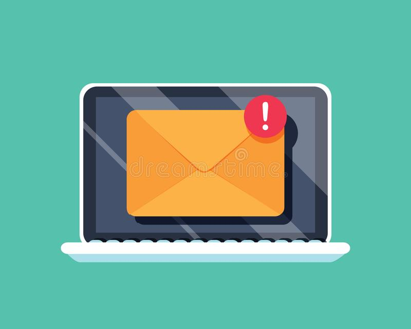 在膝上型计算机屏幕上的新的消息象 也corel凹道例证向量 与通知的一个新的传入的消息信封 皇族释放例证