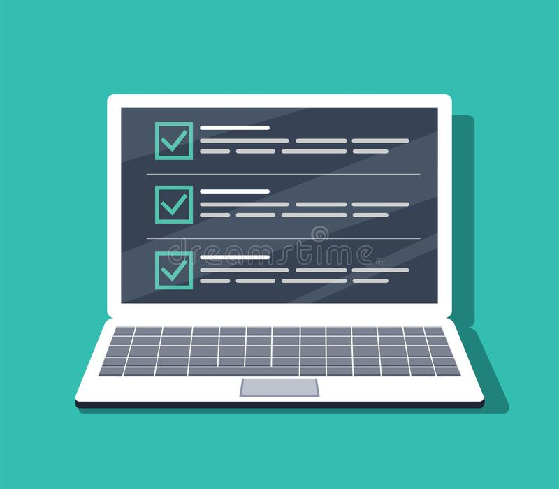 在膝上型计算机屏幕上的清单 在平的样式的被隔绝的传染媒介例证 网站的,横幅设计 皇族释放例证