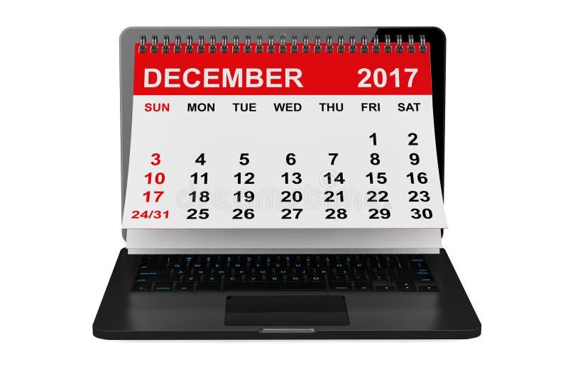 在膝上型计算机屏幕的12月2017日历 3d翻译 库存例证