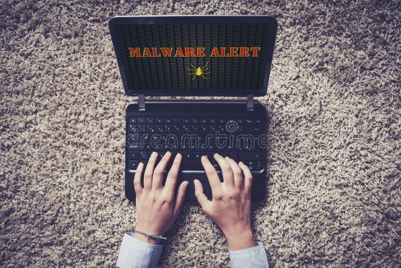 在膝上型计算机屏幕的Malware戒备 顶视图 库存图片