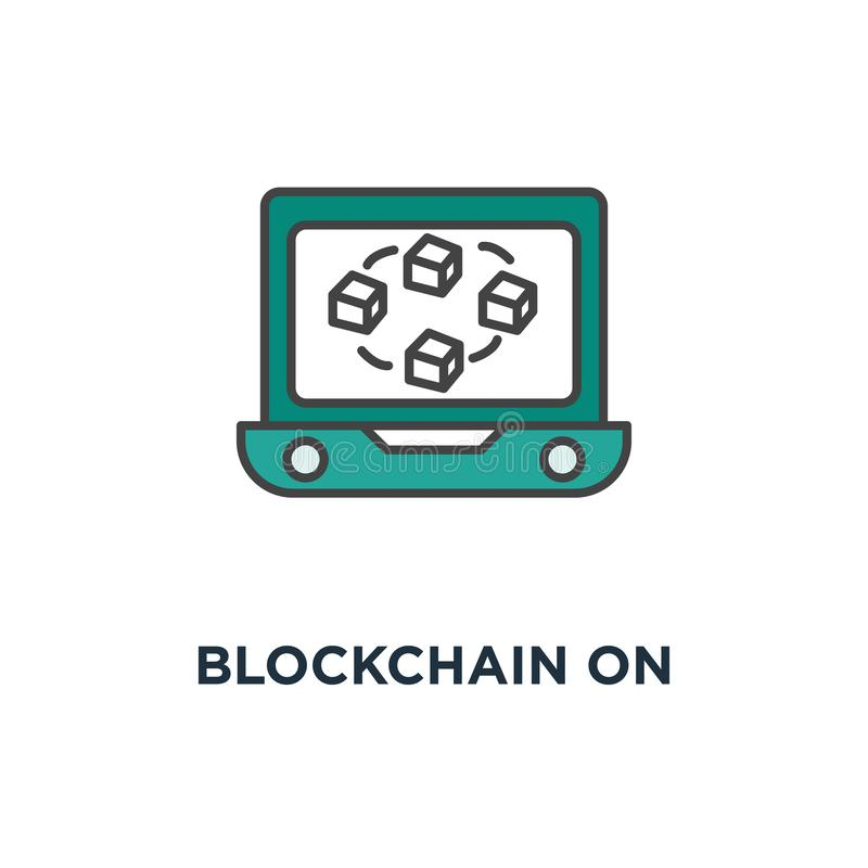 在膝上型计算机屏幕象的blockchain 在显示的被连接的立方体,数据库概念标志设计,数据中心,隐藏模板 向量例证