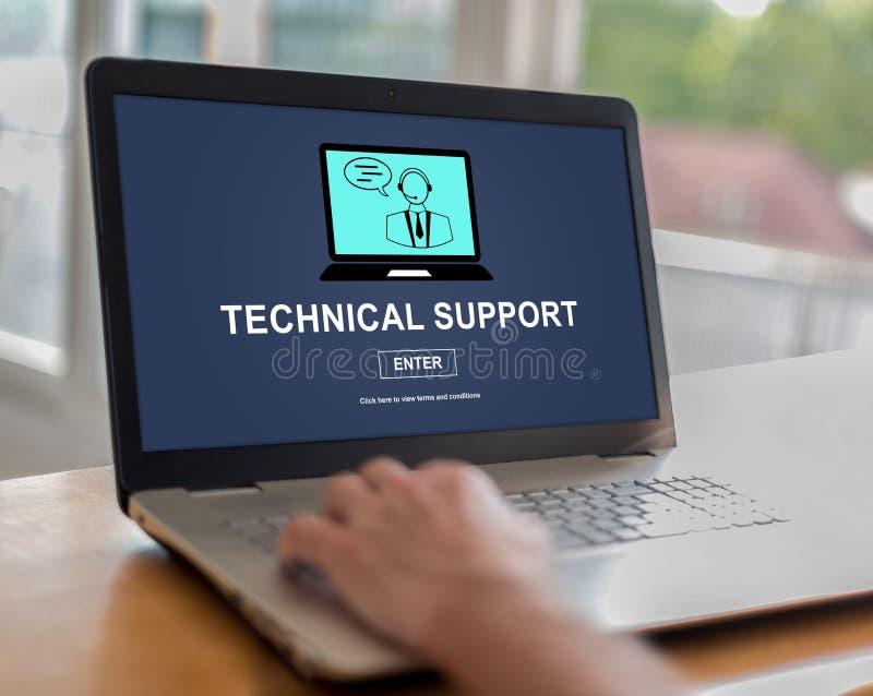 在膝上型计算机的技术支持概念 免版税库存照片