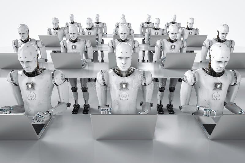 在膝上型计算机的机器人工作 向量例证