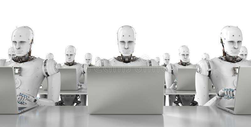 在膝上型计算机的机器人工作 皇族释放例证
