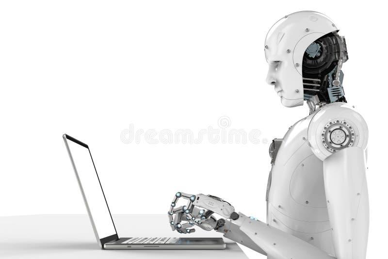 在膝上型计算机的机器人工作 库存例证