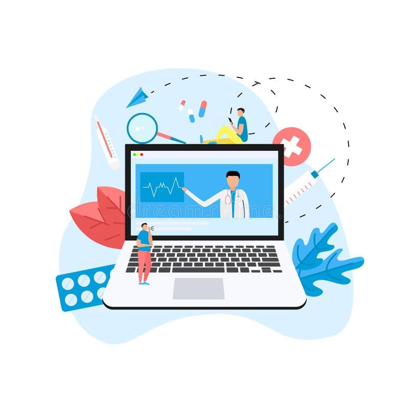 在膝上型计算机的网上医疗保健和医疗会诊概念 传染媒介平的例证 向量例证