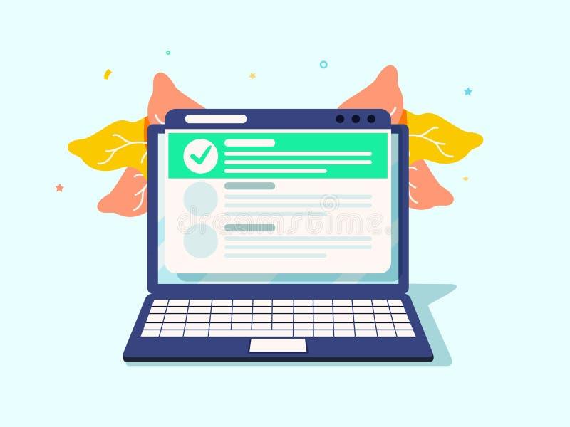 在膝上型计算机的网上形式调查 r E 做名单,任务经理 校验标志,shedule 库存例证