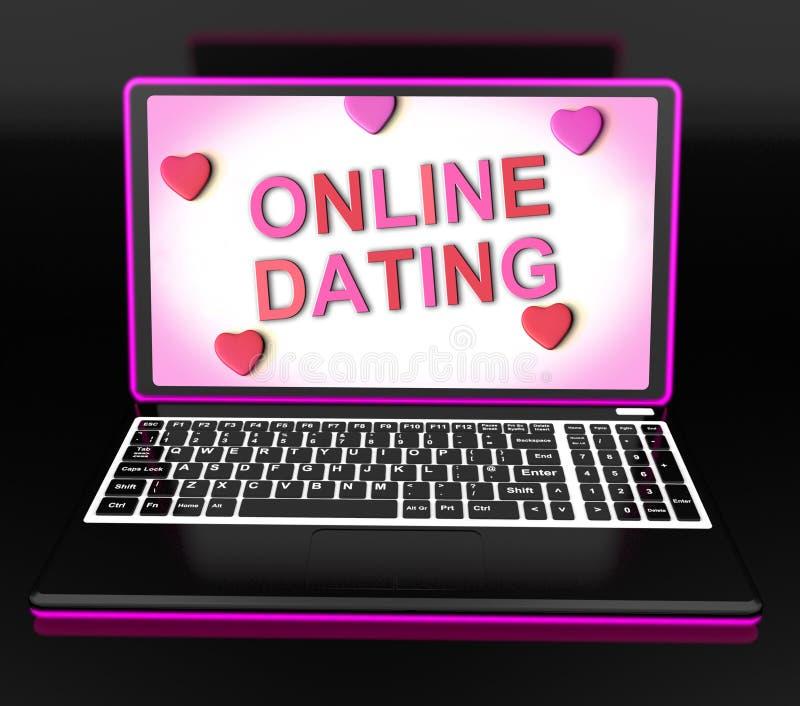 在膝上型计算机的网上约会消息显示Romancing和网爱 库存例证