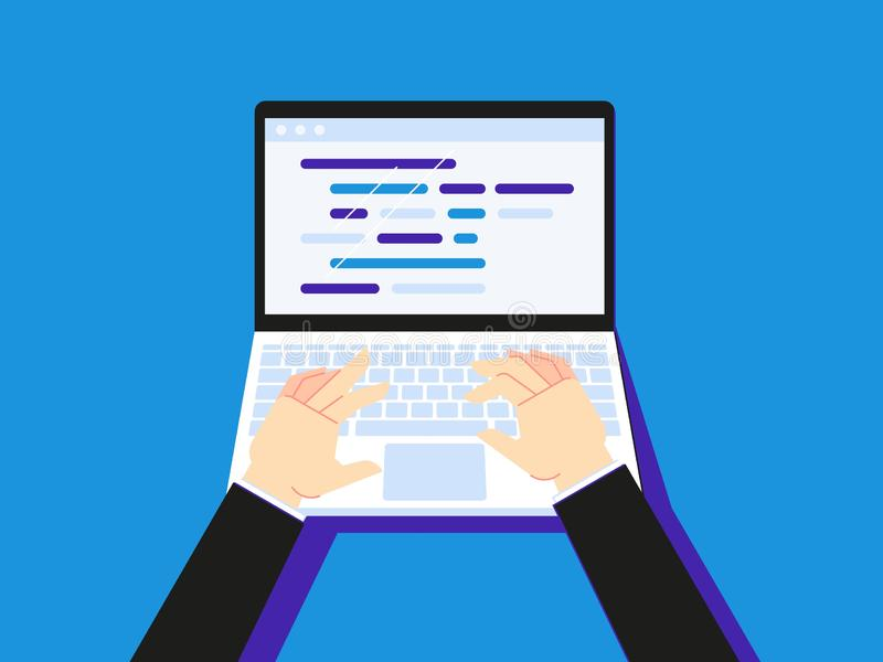 在膝上型计算机的键入的代码 使用笔记本的商人creen桌面或秘书手类型平的传染媒介例证 皇族释放例证