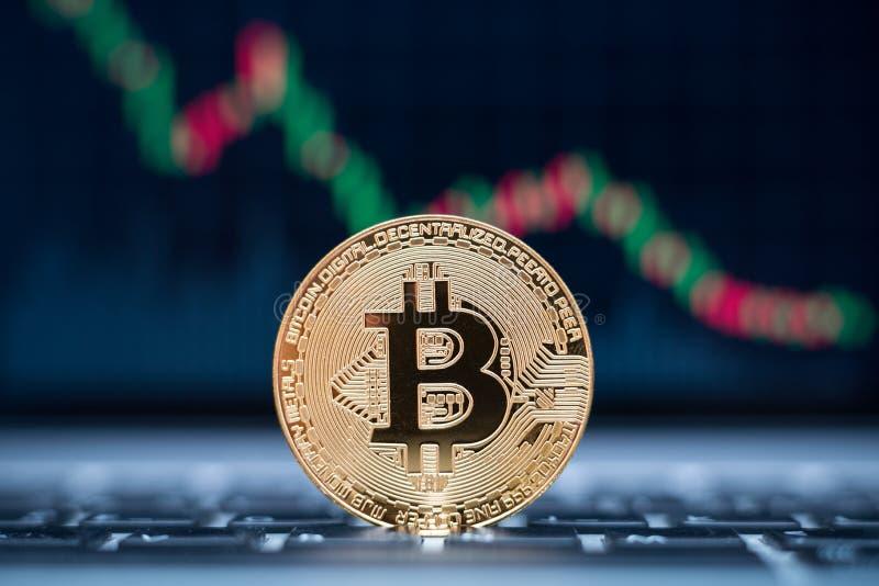 在膝上型计算机的Bitcoin物理硬币标志有下降趋势价格图表背景,未来概念财政货币 库存照片