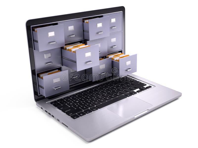 在膝上型计算机里面屏幕的文件柜  库存例证