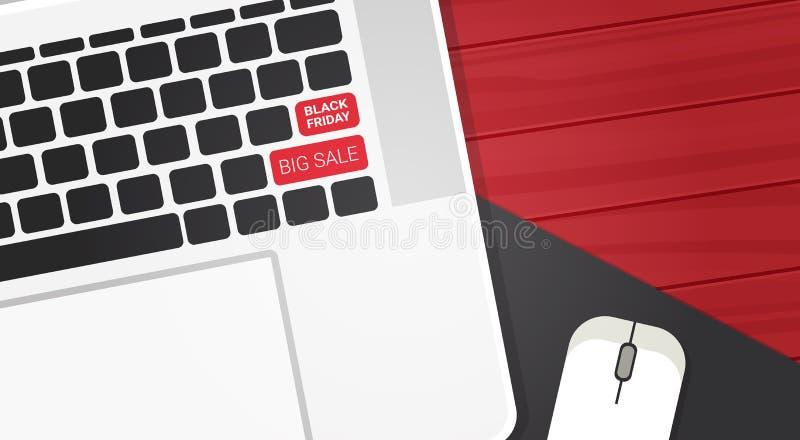 在膝上型计算机键盘按钮购物的折扣海报设计的黑星期五大销售文本 皇族释放例证