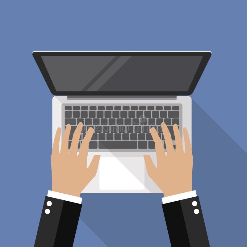 在膝上型计算机键盘顶视图的手 向量例证