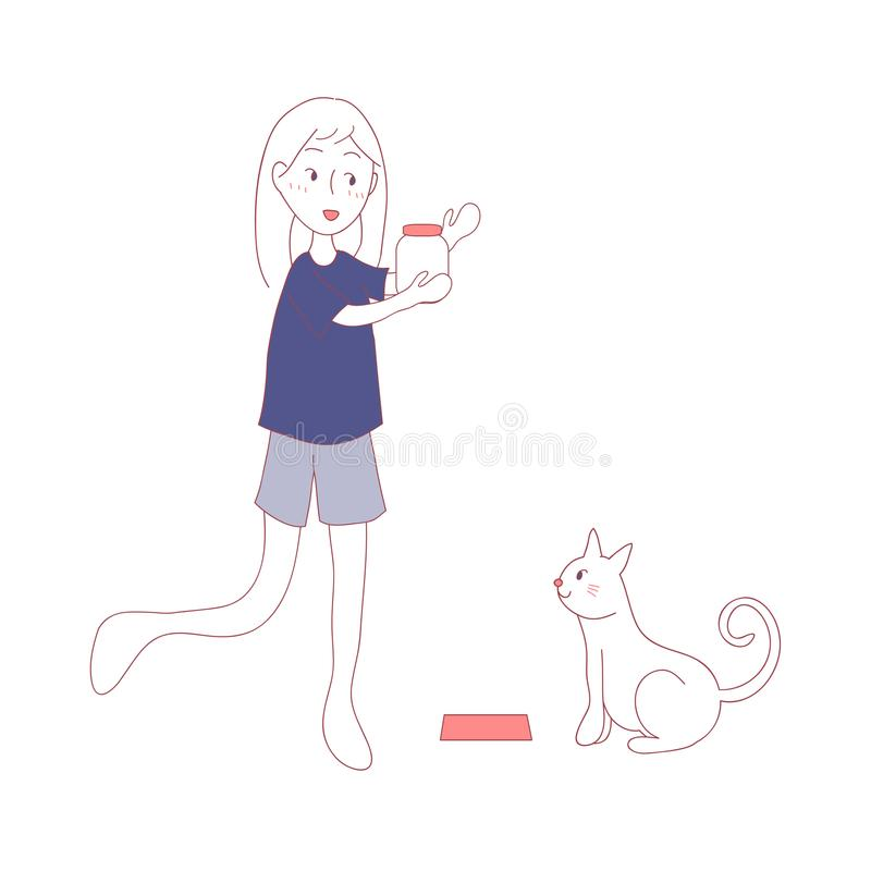 在膳食时间的猫等待的女孩哺养的食物 也corel凹道例证向量 背景查出的白色 向量例证