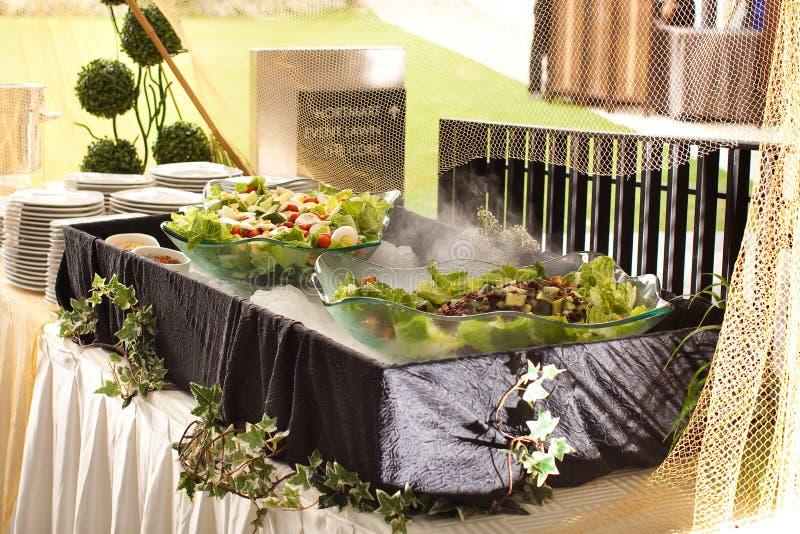 在自助餐的菜沙拉 库存照片