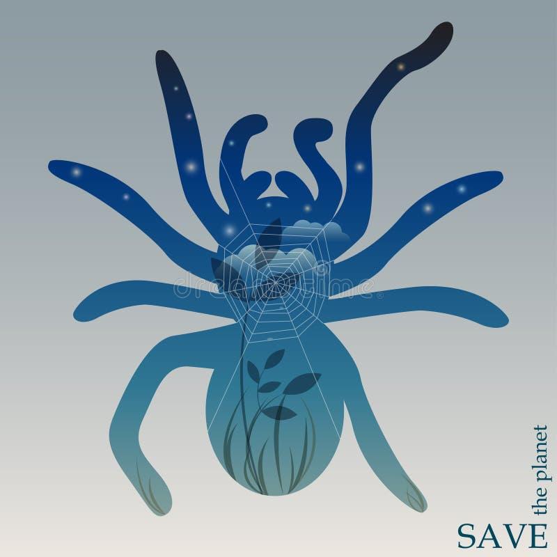 在自然和动物的保护题材的概念性例证与夜森林有网的在蜘蛛剪影  向量例证