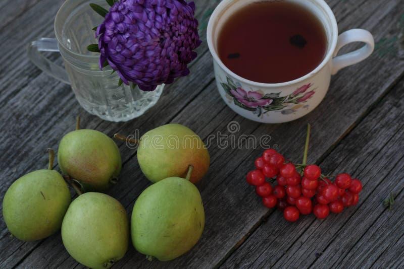 在自然的新鲜的梨庄稼茶 免版税库存图片